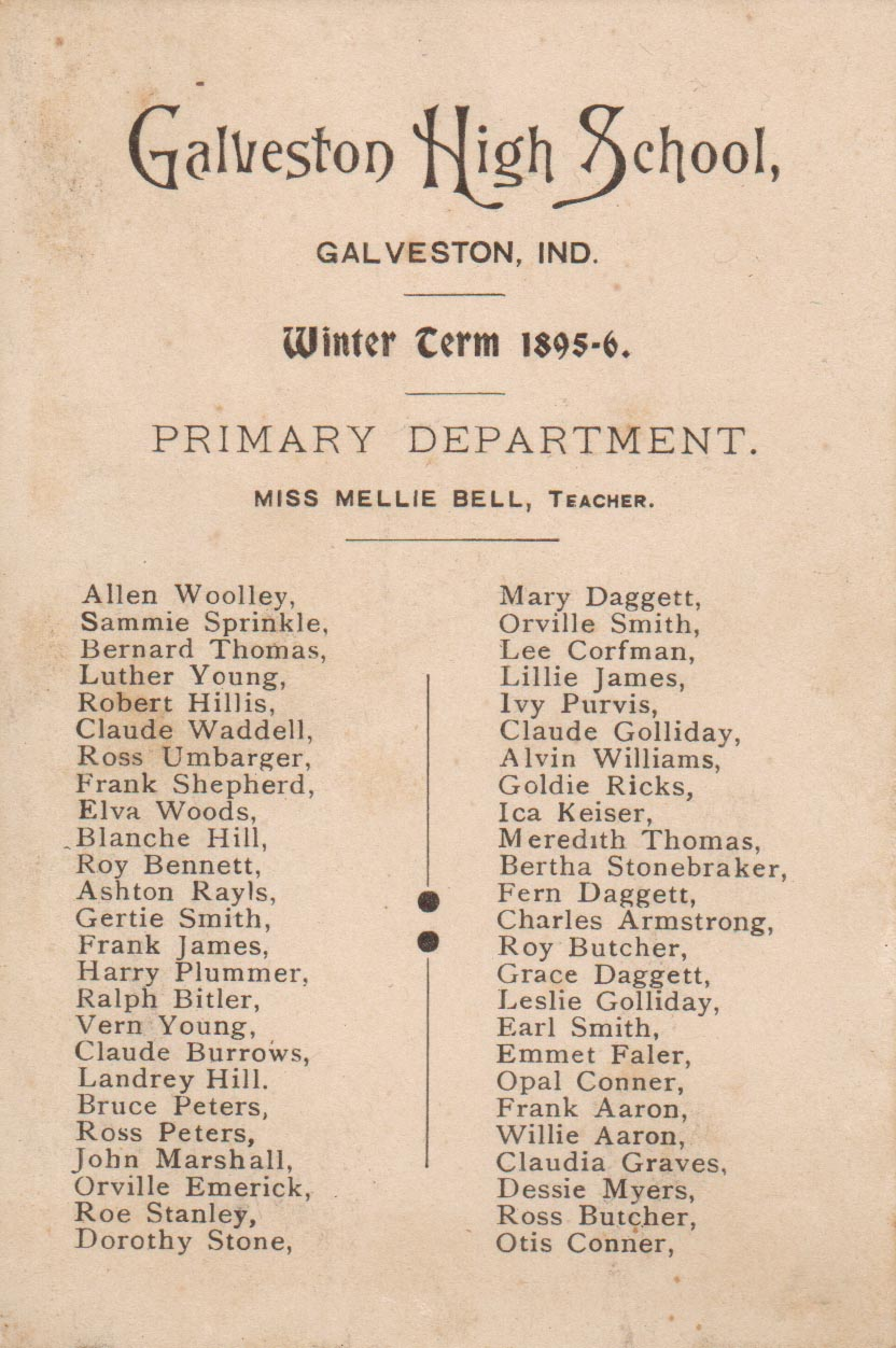 Galveston High School winter term 1895-96 Student listing