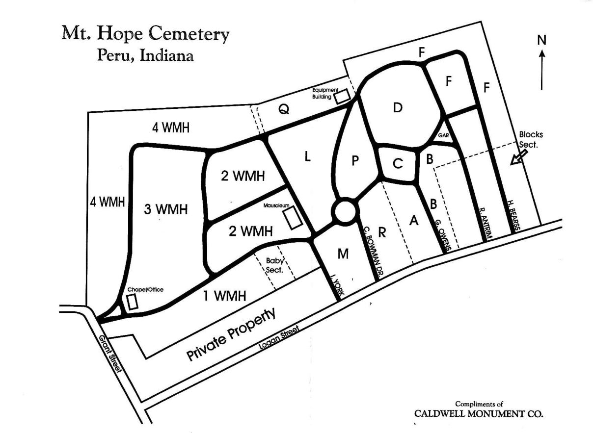 Peru Mount Hope Cemetery Index Page - Map of miami county indiana